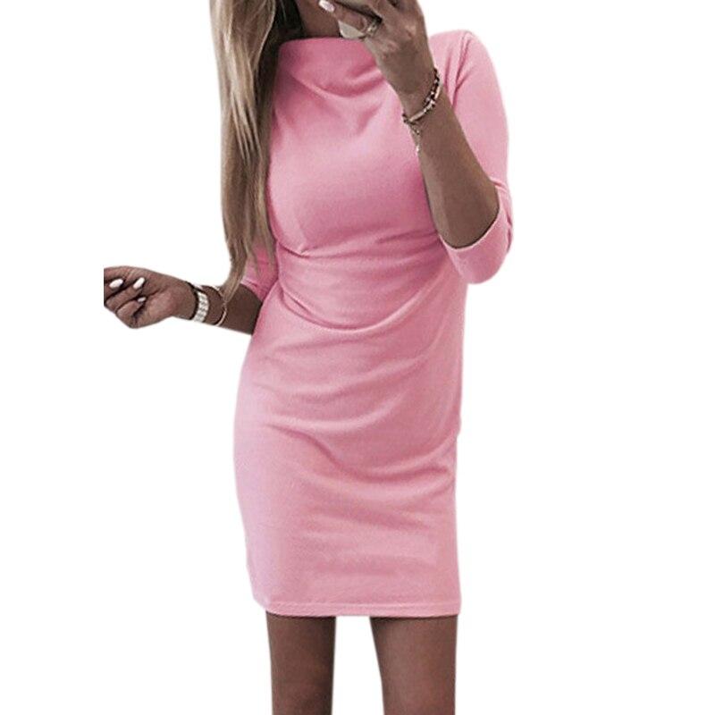 Mini vestidos de moda para mujer cuello alto primavera otoño Bodycon paquete Hip blanco Vestido de manga larga para fiesta de mujer estiramiento bata M0191