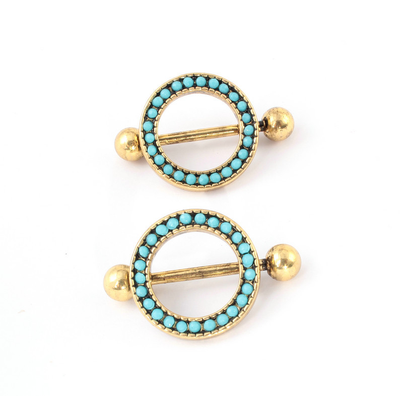 1Pair 316L Surgical Steel Nipple Jewelry Antique Gold -5944