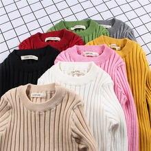 MQ/свитер для маленьких мальчиков и девочек, детская одежда, осень-зима 2018, детская одежда для девочек, вязаный пуловер, однотонные свитера для детей