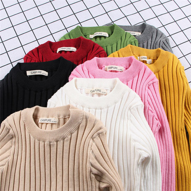 MQ Baby Boys Girls Sweater Children Clothes 2018 Autumn Winter Girl Children Clothing Knitted Pullover Soild Sweaters For Kids