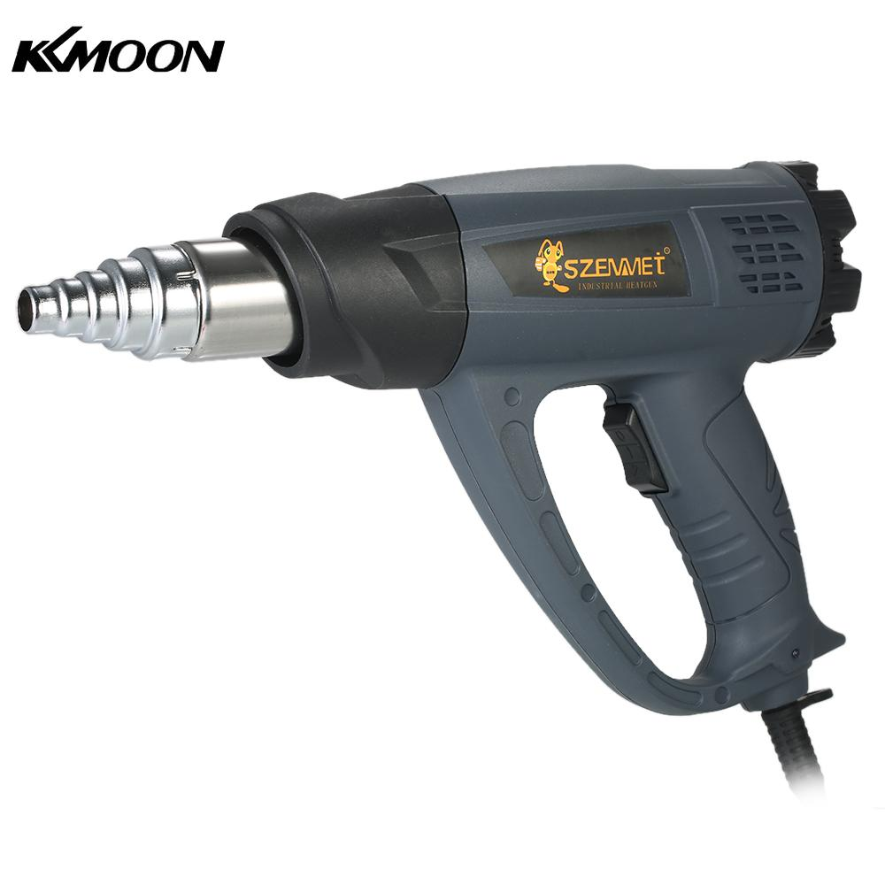 KKmoon 2000W Industrial Hot Air Gun Adjustable Temperature Speed Hot Heat Gun Shrink Blower Tool with 4 Nozzles AC220V EU Plug