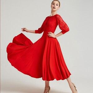 Image 5 - Vestido de baile de salón de baile moderno con cinta de baile de manga larga vestido de largo Flamenco Rumba Samba vestido de práctica estándar