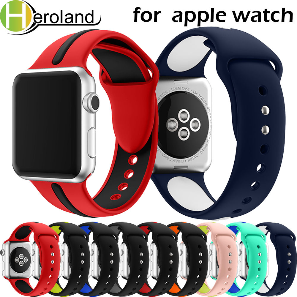 Sports Silicone For Apple Watch Band 42mm 38mm 40mm 44mm Smart Watchbands Wrist Bracelet Strap For IWatch Series 4/3/2/1 Belt