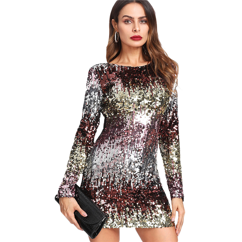 COLROVIE Iridescent Sequin Dress 2018 Round Neck Long Sleeve Sexy Party Dress With Zipper Women Sheath Autumn Short Dress 16
