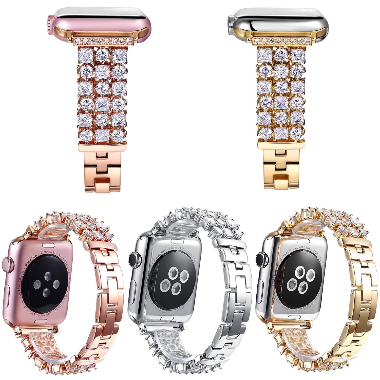 Luxury Bling Diamond Bracelet for Apple Watch iWatch Series 1 2 3 Band Rhinestone Stainless Steel Strap 38mm 42mm Wristband