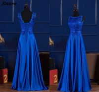 Elegant Royal Blue/Wine Red Scoop Lace Satin Long Dresses For Wedding Party Summer Prom Evening Gowns 2018 Maxi Dresses vestidos