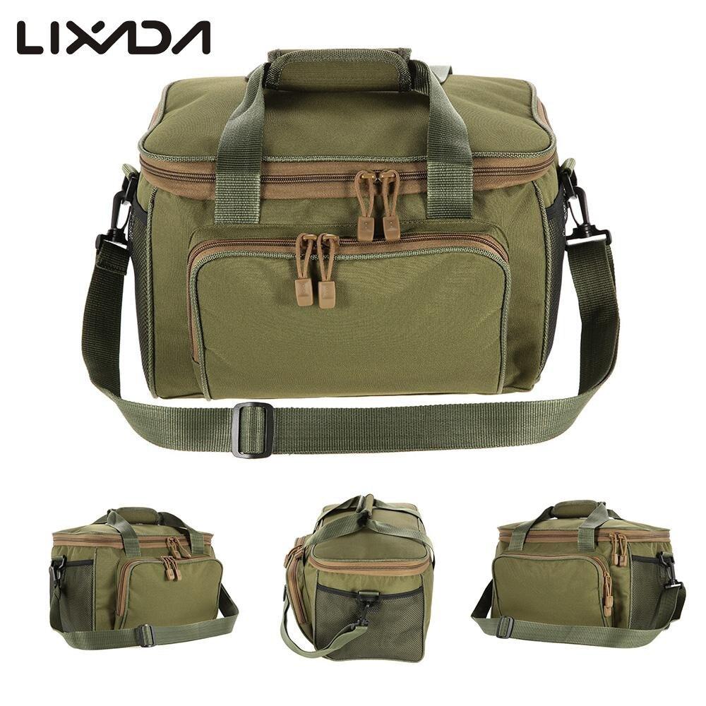 Lixada Fishing Bag Portable Multifunction Canvas Fishing Lure Reel Shoulder Waist Backpack Bag for Carp Pesca 37 * 25 * 25cmfishing bagfishing lure bagfishing reel bag -