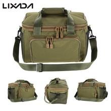 Lixada 낚시 가방 휴대용 다기능 캔버스 낚시 유혹 릴 어깨 허리 배낭 가방 잉어 Pesca 37*25*25cm