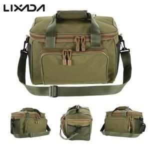 Image 1 - Lixada 낚시 가방 휴대용 다기능 캔버스 낚시 유혹 릴 어깨 허리 배낭 가방 잉어 Pesca 37*25*25cm