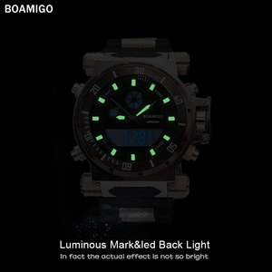 Image 3 - BOAMIGO מותג גברים צבאי ספורט שעונים גדול פנים כפולה זמן קוורץ הדיגיטלי שעון גומייה שעוני יד relogio masculino