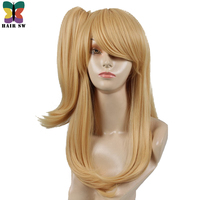 HAIR SW Long Straight Fairy Tail Cosplay Wigs Synthetic hair Golden Yellow Cosplay Party Wig+One Ponytail