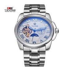 Original Dial Grande TEVISE Hombres Mecánicos Automáticos Del Reloj Famosa Marca de Lujo Fase Lunar Reloj Luminoso Impermeable Reloj de Los Hombres Del Reloj
