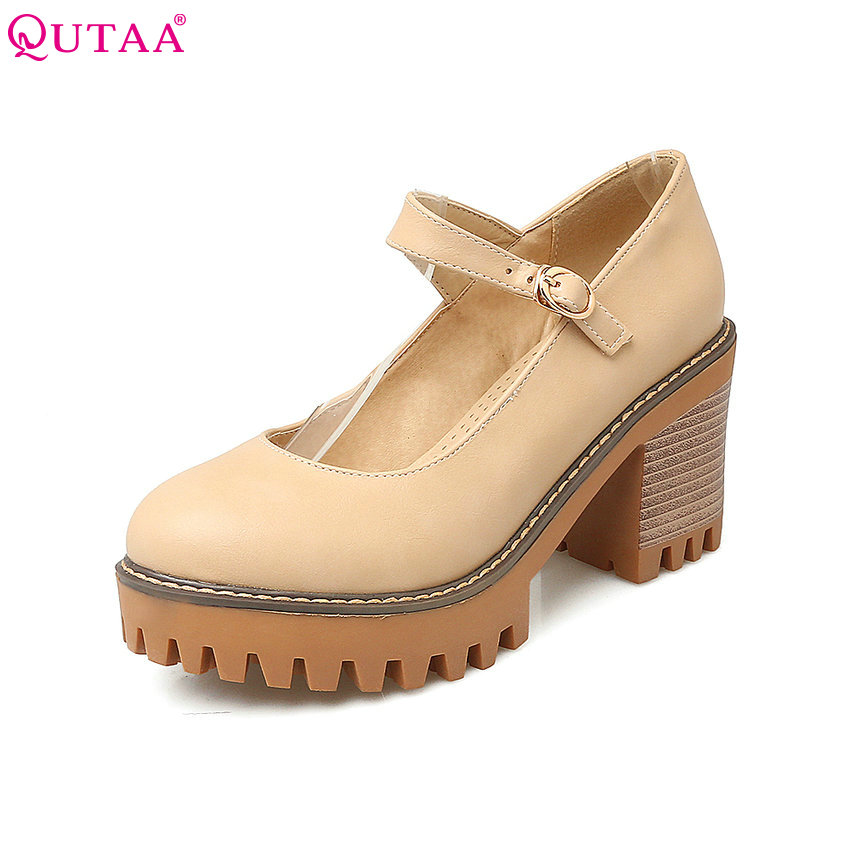 QUTAA Sexy Women Pumps Square High Heel PU Leather Ankle Strap Round Toe Platform Summer Spring Ladies Wedding Shoes Size 34-43 vinlle 2017 women pumps college style square med heel vintage slip on pu leather shoes casual round toe girl shoes size 34 40
