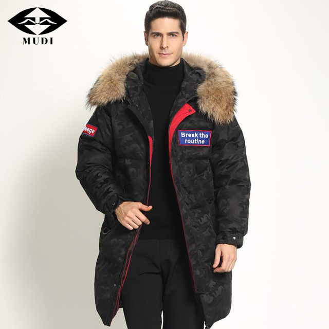 7daec2890144 MUDI Super Thick Men s Down Coat Top Quality 90% White Duck Down Jacket  with Fur Hood Long Winter Jacket Warm Parkas Overcoat