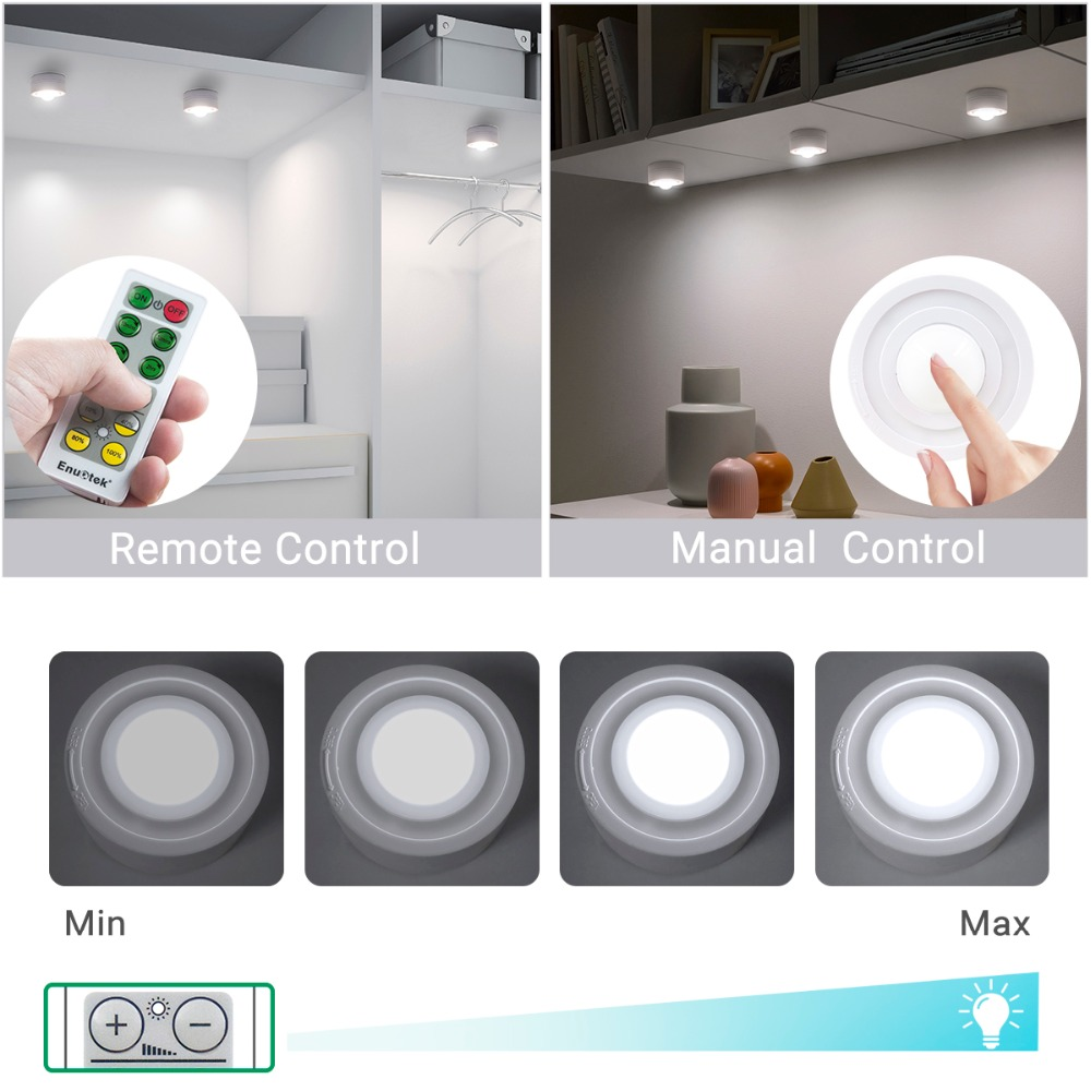 Remote Control Dimmable LED Puck Night Lights LED Cabinet Lamps Cupboard Light with Timer Function Lighting 4 Lamps and 1 Remote