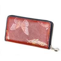 3D Long Wallet Red Embossed Butterfly Real Genuine Leather Zipper Wallets Women Clutche Purse for Coins Phone Card Holder bag