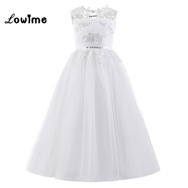 0a1361ae0f1 White Flower Girl Dresses Kids Sequin Applique First Communion Dresses  Pageant Girls Glitz Beaded Tulle Dresses 100% Real Image