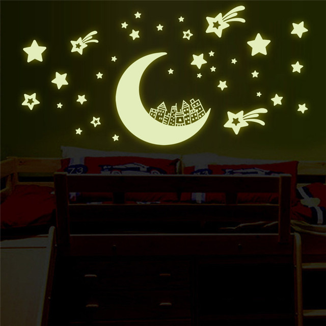 romantic night luminous stars moon fluorescent 3d wall stickers for