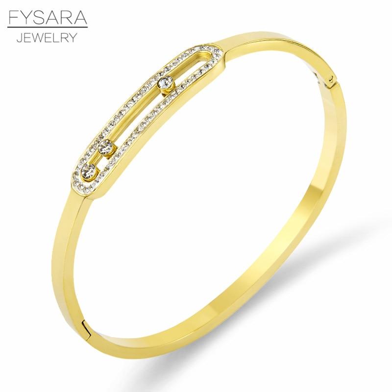 52e85a14f7fe FYSARA de acero de titanio de tres cristales giratorias de pulseras de la  marca de lujo Zirconia brazaletes para las mujeres joyería de moda de la  boda