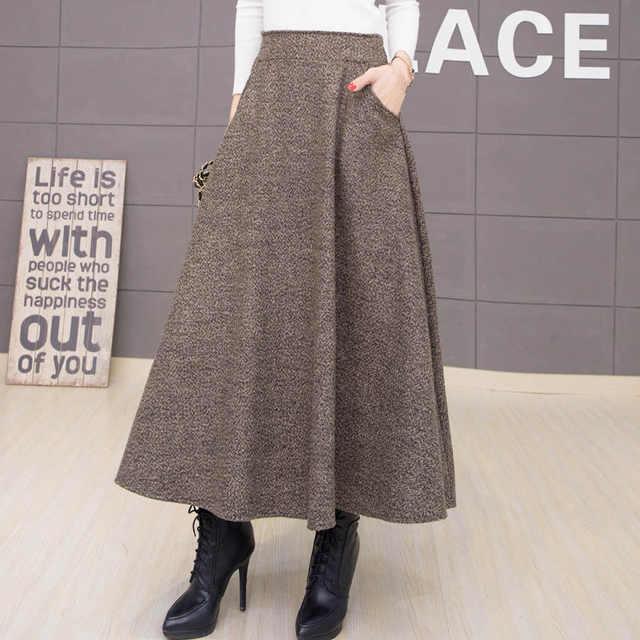 da7354b1067 Осенняя и зимняя длинная юбка женская винтажная шерстяная юбка с высокой  талией Saia Faldas шерстяные плиссированные