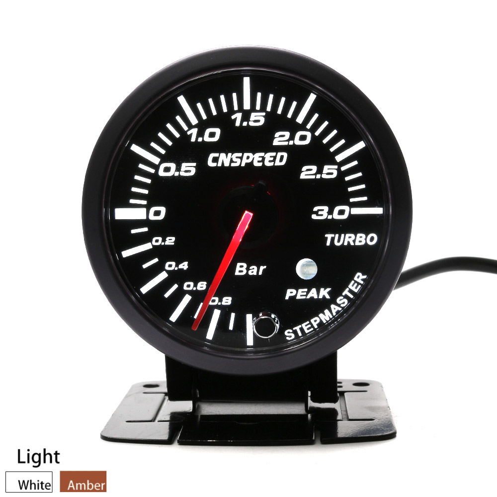 CNSPEED 60MM Black Face Car Turbo Boost gauge 3 BAR With White &Amber Lighting turbo boost meter /Car Meter TT101246 cnspeed 52mm car evo digital turbo boost gauge psi meter sensor blue lcd turbo boost meter turbo pressure boost gauge ms101031