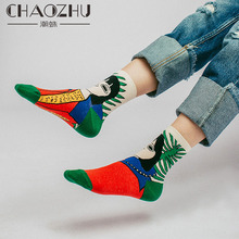 2018 New Women Cartoon Art Odd Funny Socks Cute Childlike Home Sweet Lady Short Hair Girl/Cat/Hands Illustration Meia