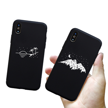 Fashion pattern silicone case for iPhone 11 pro 7 6 6S 8 Plus X 5 S 5S SE XS Max XR matte phone set star moon mobile phone case 1