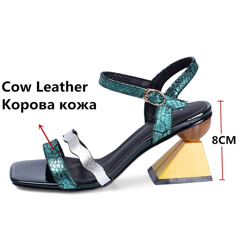 FEDONAS Fashion Top Quality Genuine Leather Women Sandals Prom Night Club Shoes Summer Shoes Woman Rome Strange Heels Pumps-in High Heels from Shoes    2
