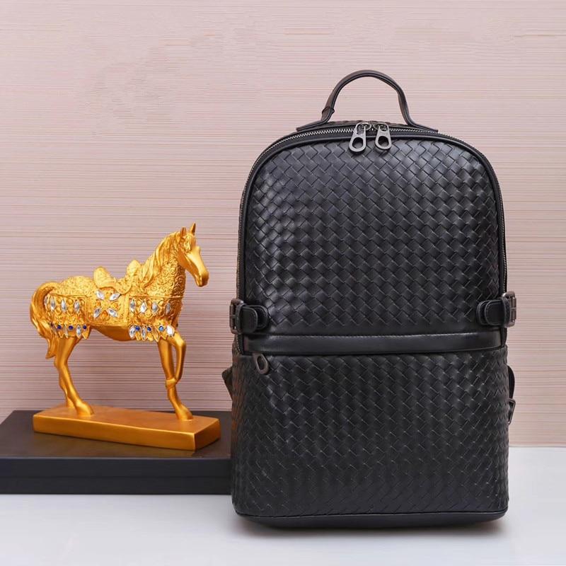 Kaisiludi leather backpack braid men s bag travel student bag large capacity computer women s bag