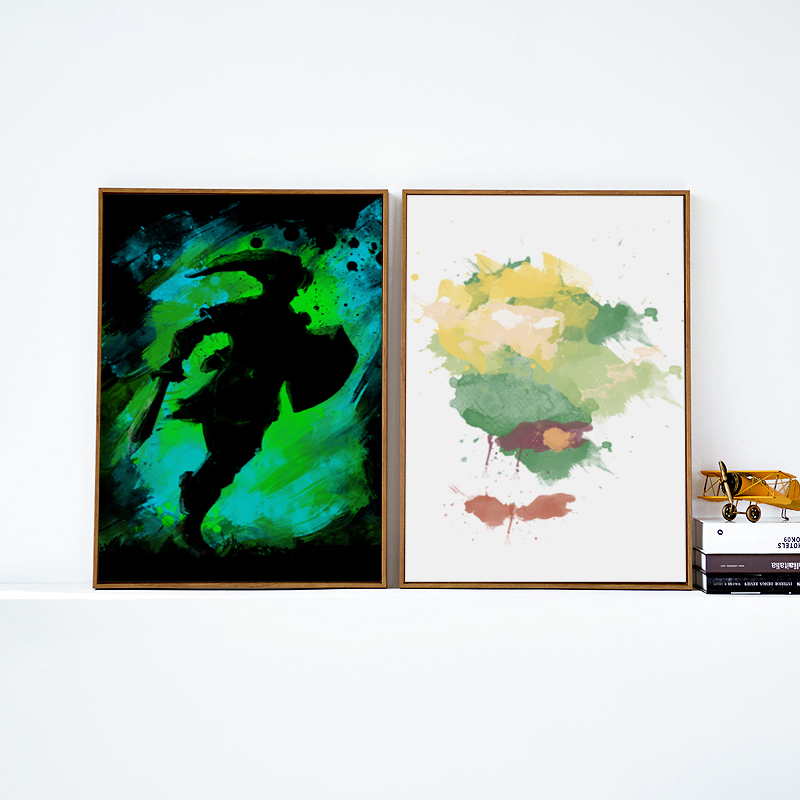 Big Canvas Art Modern Watercolor Abstract Ink Splash Big: 07G Abstract Watercolor Splash Game Character Zelda A4 A3