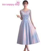 8c482e2a2 Robe de mariage 2019 gris encaje las niñas modesto de dama de honor hermosa  bridemaids vestidos