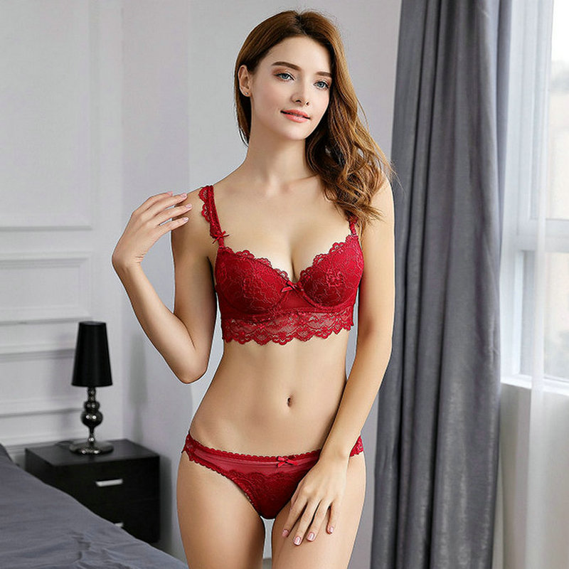 New Europe <font><b>Girl</b></font> <font><b>sexy</b></font> lace bra set gather adjustable underwear sets for women A <font><b>B</b></font> C <font><b>D</b></font> Cup image