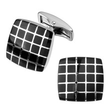 A pair of high quality brass men's shirts Cufflinks Black Square Silver Cufflinks wholesale and retail network