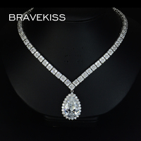BRAVKIS Wedding Bridal Clover Zircon Crystal Chunky Necklace For Women Cz Diamond Big Water Drop Pendant