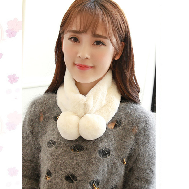2017 New Fashion Winter Scarf solid double hair ball Rex rabbit plush collar winter warm thick hair collar wild lady scarf