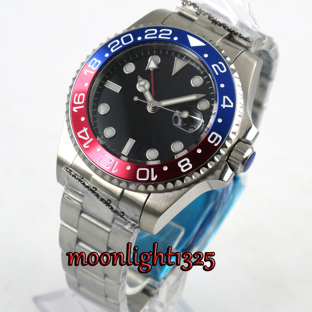 Luxury Brand parnis Mechanical Watches 43mm Black sterile dial GMT Blue Red Bezel sapphire glass automatic mens watch цена 2017