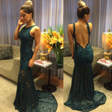 Bbonlinedress Sexy Backless Evening Dress 2019 Lace Mermaid Gown vestido de noche Sweep Train Dark Green Prom