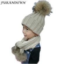 FURANDOWN kids Winter Scarf Hat Sets Children Warm Thick Stretchy Knit Beanie Pom Pom Hat Fur Caps