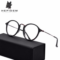 HEPIDEM High Quality Handmade Acetate Glasses Frame Women Prescription Myopia Round Eyeglasses Men Optical Frame Eyewear