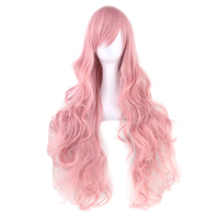 Soowee 20 Colors Wavy Long Wig Hairpiece High Temperature Fiber Synthetic Hair Pink Black Women Party