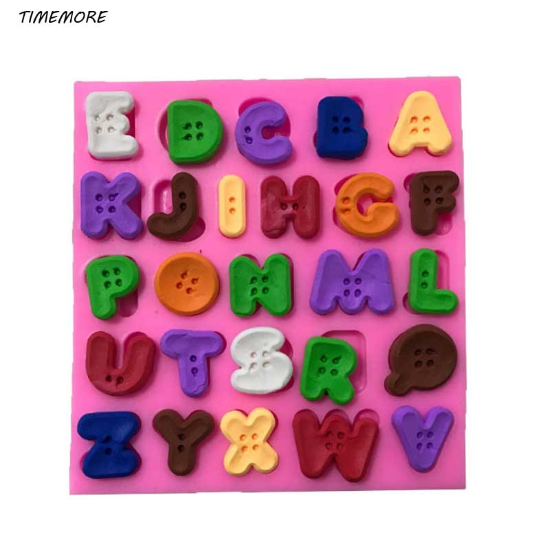 1 Pcs Hot Sale DIY Button Letters Alphabet Silicone Cake Mold Fondant Cake Decorating Tools Chocolate Clay Candy Moulds