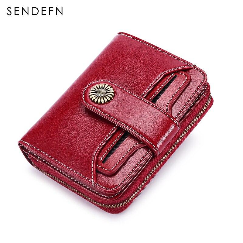 Кошелек Sendefn из патента, качественный короткий женский кошелек на кнопках и молнии, маленькие женские кожаные бумажники, 5185-68