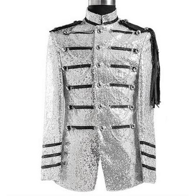 Men Sequin Blazer Silver Nighclub Fashion Performance Suits Costume Homme Blazers Designs Men Singer Suits Men