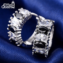 Effie Queen Newest Trendy Platinum Plated Earring with 6 Pieces Multi Color Cubic Zircon Women Earrings Best Birthday Gift DDE07
