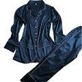 Женщины пижамы установить бесплатная доставка новый дизайн с длинным рукавом женский pijamas установить леди пижамы установить шелковый атлас ночное высокое качество горячая