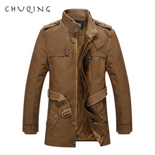 CHUQING 2019 New Autumn and Winter Mens Leather Long Jacket Casual Fashion
