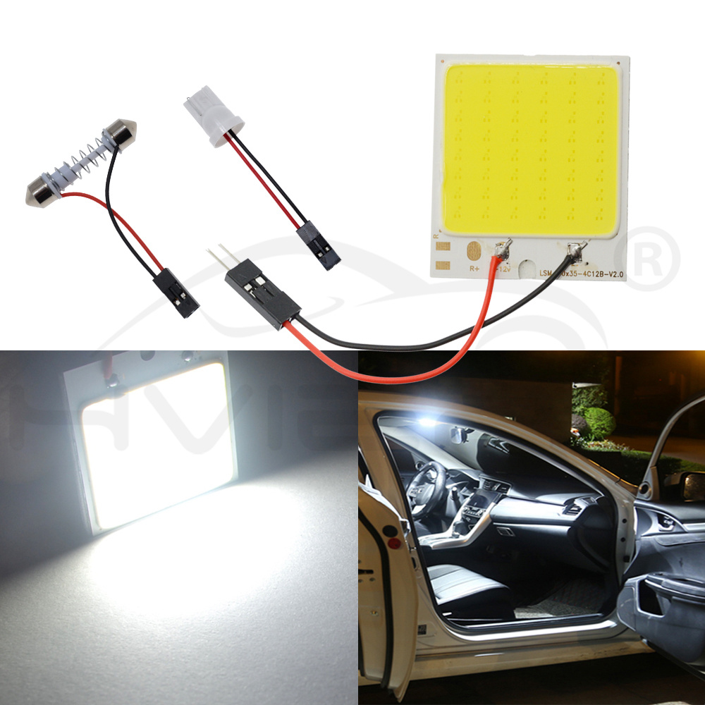 Hviero White T10 W5W C5W 24 36 48Smd Cob Led Panel Car Auto Reading Map Lamp Panel light Dome Festoon BA9S 3Adapter DC 12v Car Led