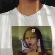 Mona Lisa cartoon zabawny modny nadruk T-shirt parodia osobowość moda Harajuku lato dorywczo luźna estetyka odzież damska tanie tanio ZSIIBO Poliester NONE Tees Print Topy Krótki REGULAR B1WC125 Suknem Kobiety O-neck Na co dzień