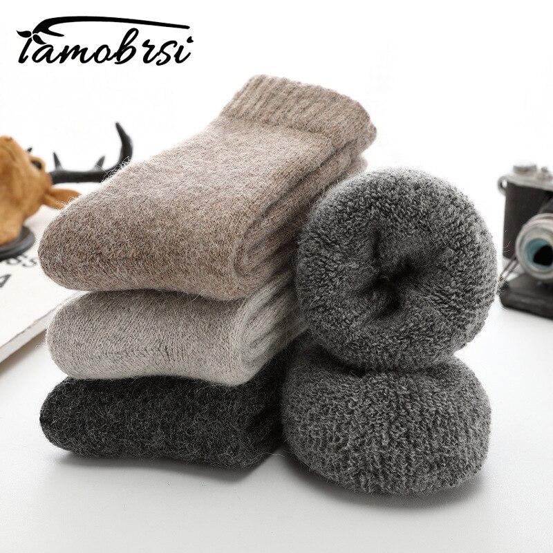 Super Thicker Solid Socks Merino Wool Rabbit Socks Against Cold Snow Russia Winter Warm Funny Happy Male Men Socks