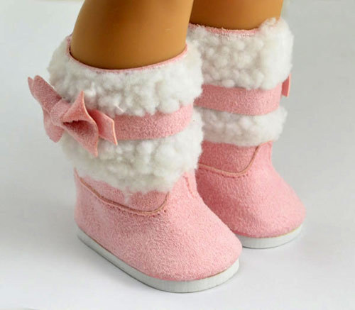 Doll Shoes For 18 American Girl Doll Accessories Pink Boots Christmas Birthday Gift For Baby doll accessories pink rabbit pattern sleeping bag pillow doll clothes wear fits 18 american girl doll for baby gift lg74